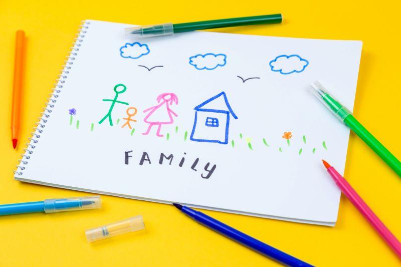 Caiet de desen pe o masa galbena inconjurat de carioci de diverse culori pe care e desenata naiv o familie langa casa lor si e scris Family in limba engleza