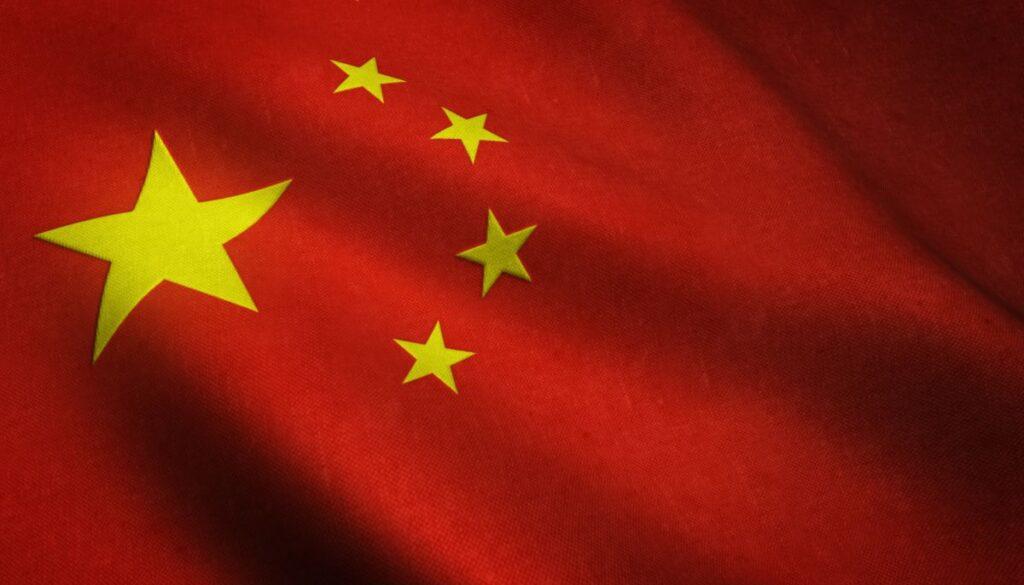 detaliu din steagul Chinei, a carei limba oficiala e mandarina