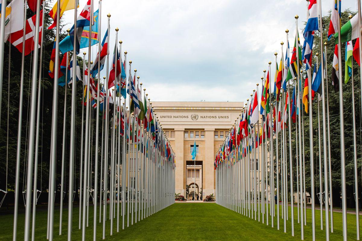 Sediul Natiunilor Unite incadrat de steaguri ale tuturor tarilor ce fac parte din aceasta organizatie