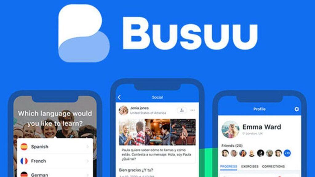 logo aplicatie busuu si trei ecrane de telefoane cu capturi de ecran din interiorul programului Busuu